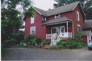 red farmhouse front